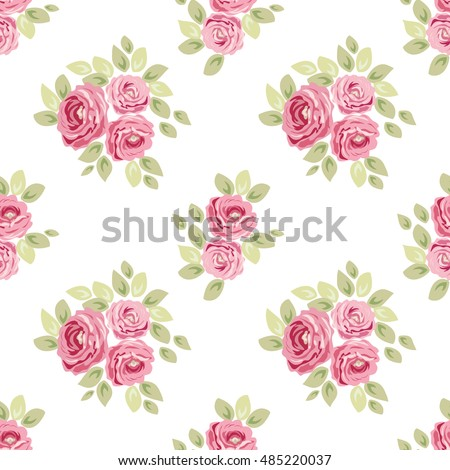 Cute Seamless Shabby Chic Pattern With Roses Ideal For Kitchen Textile Or Bed Linen Fabric