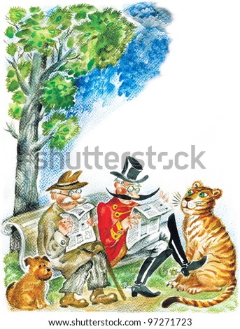Cute seniors with pets. Two senior men reading newspapers on a park bench, their pets: dog and tiger resting near.