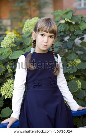 cute serious girl with plaits sitting on fence nearby bush of hydrangea