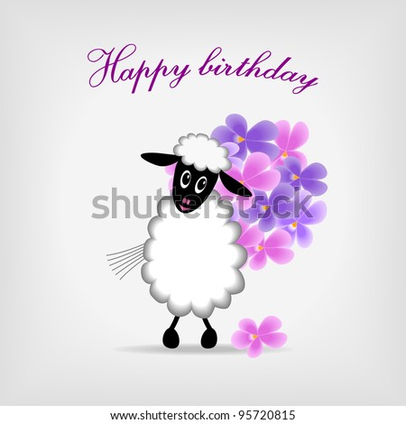 cute sheep holding bunch of violet flowers on gray background, with text Happy birthday! - bitmap