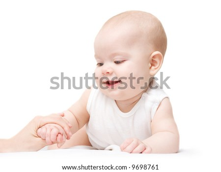 Cute six month baby on white background - stock photo