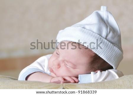 cute sleeping newborn baby portrait