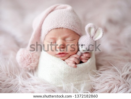 cute sleepy newborn baby girl #1372182860