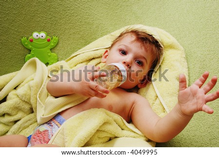 Cute small  boy after having shower