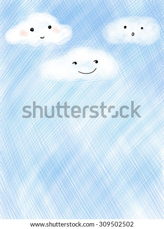 Cute smiley faces clouds over blue cross hatch sky template background wallpaper