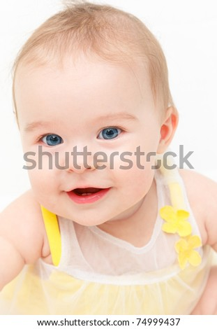 Cute smiling baby girl isolated on white - stock photo