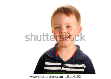 stock photo : Cute smiling boy with blonde hair and green eyes,