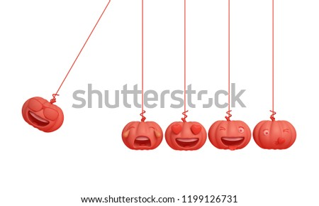 Cute smiling cartoon of orange pastel pumpkin head jack emoji newton cradle physic, isolated on white background. Design creative concept for happy Halloween day festival, 3D rendering.