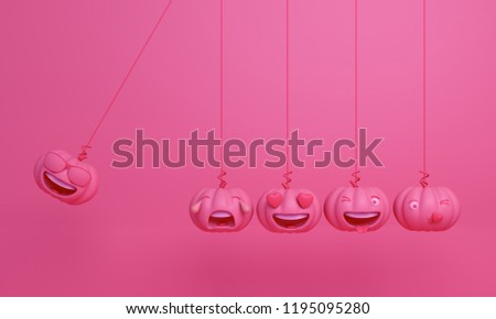 Cute smiling cartoon of pink pastel pumpkin head jack emoji newton cradle physic, Design creative concept for happy Halloween day festival, 3D rendering.