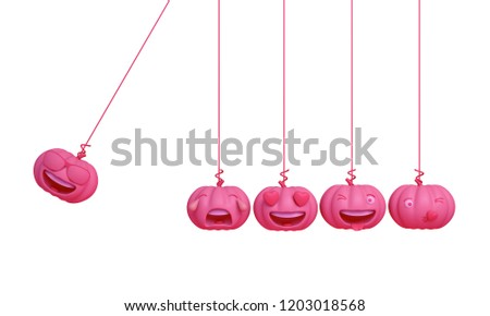 Cute smiling cartoon of pink pastel pumpkin head jack emoji newton cradle physic, isolated on white background. Design creative concept for happy Halloween day festival, 3D rendering.