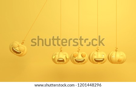 Cute smiling cartoon of yellow pastel pumpkin head jack emoji newton cradle physic, Design creative concept for happy Halloween day festival, 3D rendering.