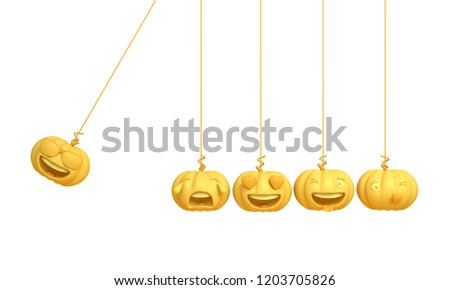 Cute smiling cartoon of yellow pastel pumpkin head jack emoji newton cradle physic, isolated on white background. Design creative concept for happy Halloween day festival, 3D rendering.