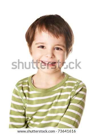 Cute smiling happy little boy isolated on white background