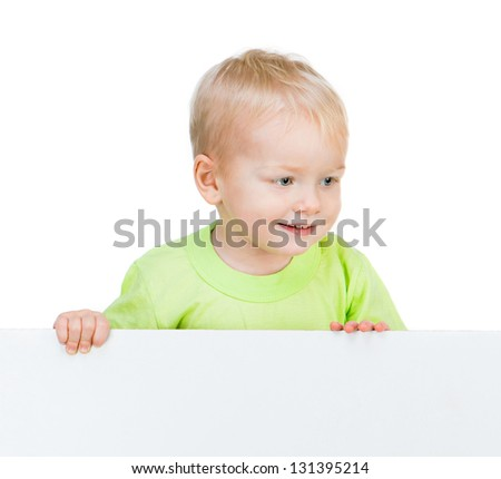 cute smiling kid with white banner