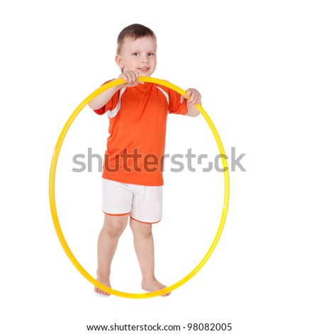 cute smiling little boy with a hoop