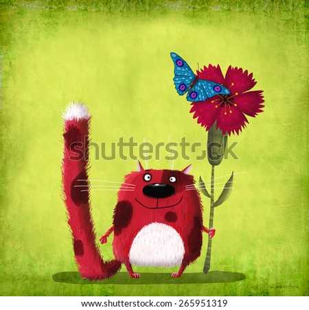 Cute smiling red cat holding a cornflower with a blue butterfly
