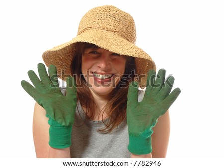 Detail · Cute Smiling Young Lady With Straw Hat U0026 Gardening Gloves,  Isolated On White #7782946