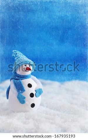 Cute snowman Christmas toy.Christmas card.