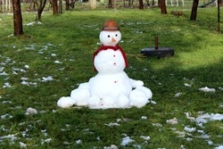 Cute snowman made from freshly fallen white snow with hat, scarf, buttons, nose made of carrot and hands from branches surrounded with melted snow on green uncut grass and trees
