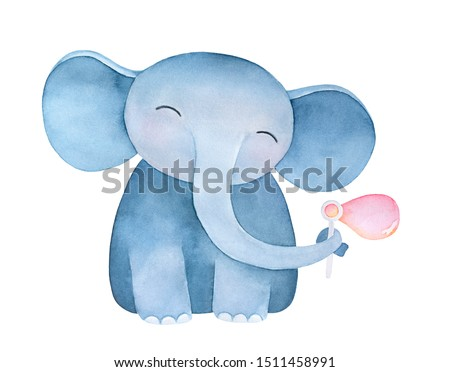 Cute standing baby elephant character blowing soap bubbles. Symbol of happiness. Hand painted water color graphic drawing, isolated element for creative design, card, invitation, baby room decoration.