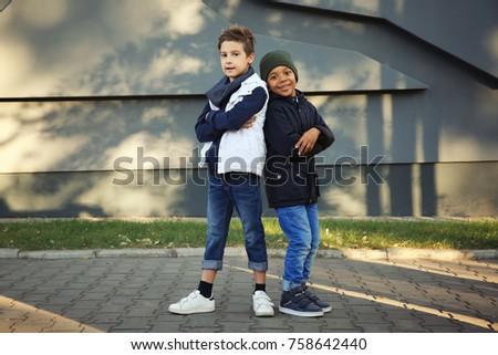 Cute stylish boys outdoors - Shutterstock ID 758642440