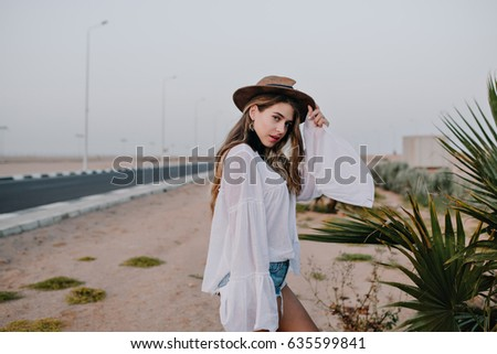 cute stylish girl in white...