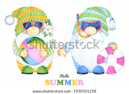 Cute summer gnome on a white background. Watercolor illustrations. Pool patry. Stock fotó ©