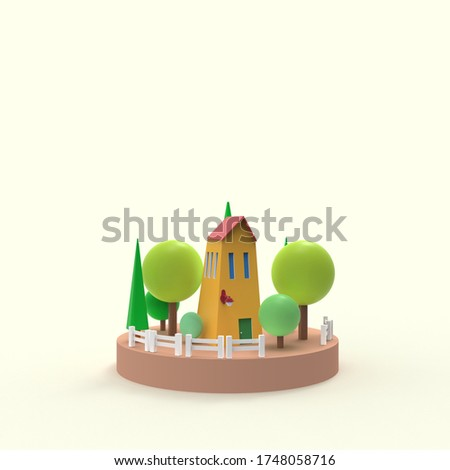 Cute summer house with trees for holiday 3d rendered illustration  stock photo