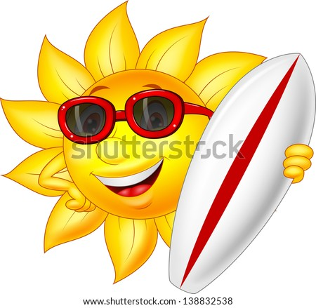 Cute sun cartoon character with surfing board