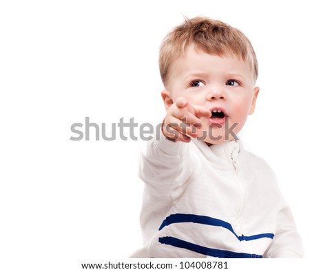 Cute Surprised Baby Pointing Finger At Us And Looking To ... Cute Baby Pointing Finger