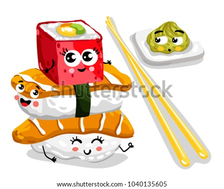 Cute sushi set cartoon character isolated on white background  illustration. Funny japanese sushi roll, sashimi and wasabi emoticon face icon. Happy smile cartoon face food, comical sushi emoji