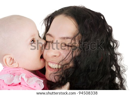cute sweet little baby biting her pretty young mother