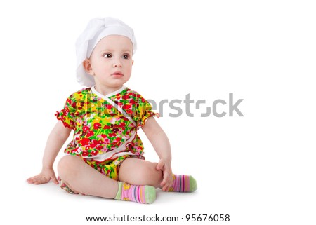 cute sweet little baby in the cook cap