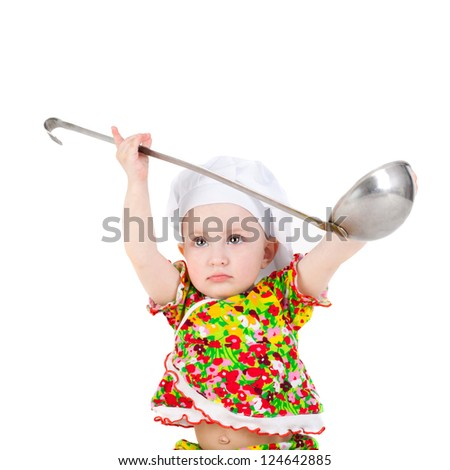 cute sweet little baby in the cook cap and with the big ladle
