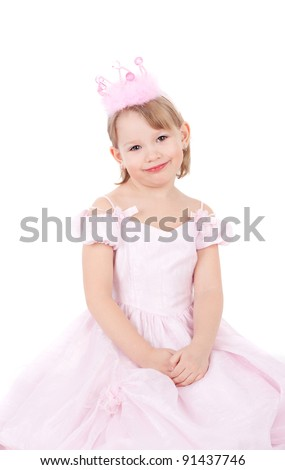 cute sweet smiling little child dressed as a princess