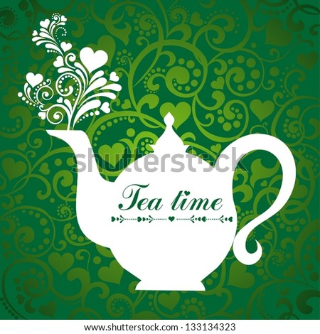 Cute tea time card. Menu for restaurant, cafe, bar, tea-house.  illustration