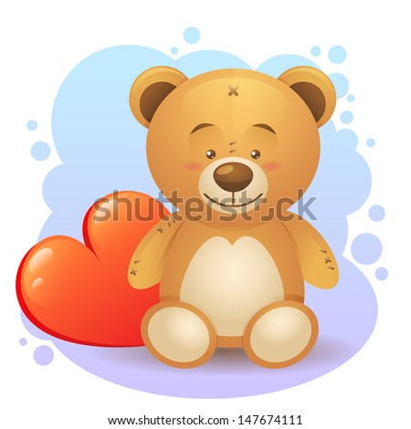 Cute teddy bear children toy with loving heart gift isolated