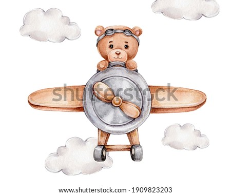 Cute teddy bear on airplane; watercolor and colored pencils hand drawn illustration; can be used for kid poster or card; with white isolated background ストックフォト ©