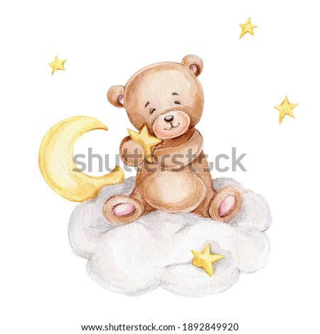 Cute teddy bear sitting on the cloud with stars; watercolor hand drawn illustration; can be used for baby shower or postcard; with white isolated background