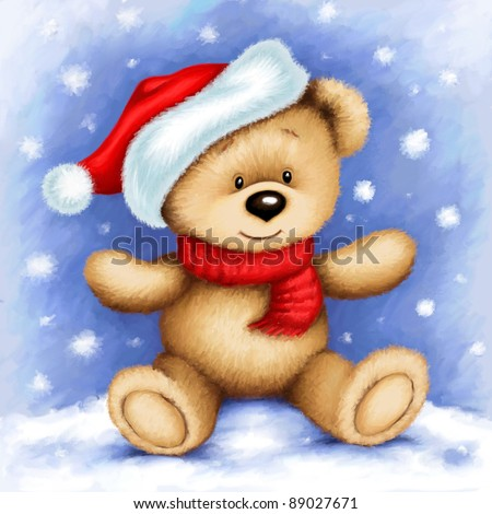 cute teddy bear wearing Santa's cap and red scarf, surrounded by snowflakes