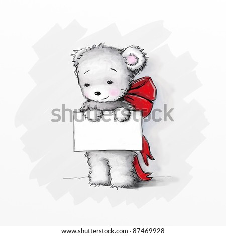 Cute teddy bear with a a peace of paper - stock photo
