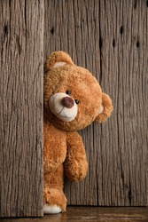 Cute teddy bear with old wood background