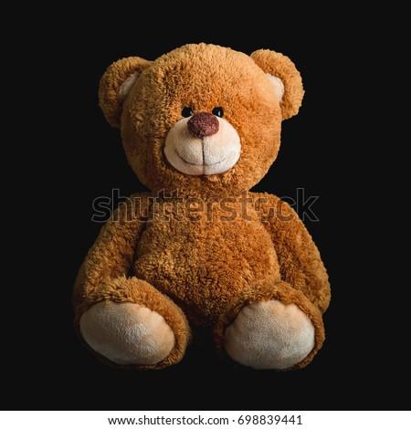 Cute teddy bears on black  background #698839441
