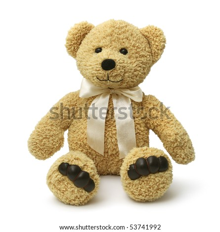 Cute teddybear sitting happy on white background isolated