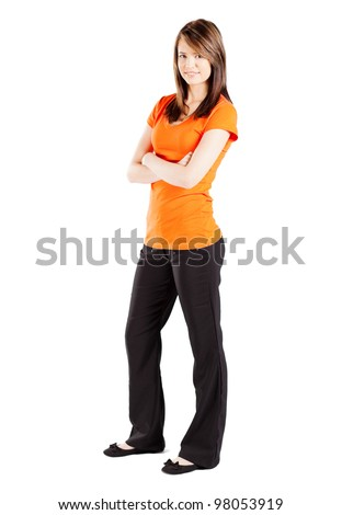 cute teen girl full length portrait isolated on white - stock photo