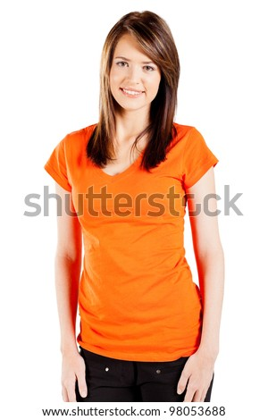 cute teen girl over white background