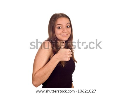 stock photo cute teen model giving the camera a thumbs up isolated against white 10621027 Episode 7 of 'As The Hood Turns' aka Love & Hip Hop Atlanta was the most ...