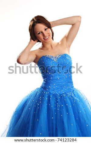 Cute teen wearing a blue prom dress - stock photo