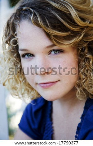 cute teen with freckles