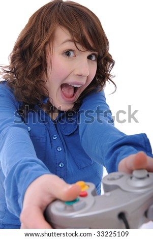 cute teenage girl playing videogame